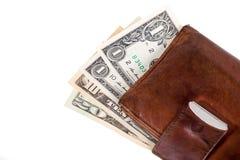 изолированная предпосылкой кожаная белизна бумажника дег Стоковые Изображения RF