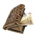 изолированная предпосылкой кожаная белизна бумажника дег Стоковое Изображение