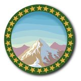 Изолированная рамка горы ландшафта эмблемы Иллюстрация вектора
