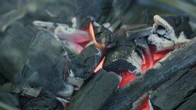 изолированная решетка барбекю Горячий уголь и горящие пламена видеоматериал