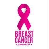 Изолированная розовая лента цвета на белом логотипе предпосылки Против логотипа рака Остановите символ заболеванием международно иллюстрация вектора