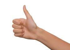 Изолированная рука пустой открытой женщины женская в большом пальце руки вверх по положению на белой предпосылке Стоковое фото RF