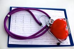 изолированная сердцем медицинская белизна стетоскопа Стоковые Фотографии RF
