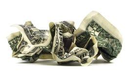 Изолированная скомканная долларовая банкнота Стоковые Изображения