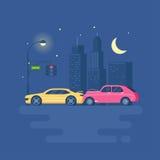 Изолированная современная иллюстрация вектора автомобильной катастрофы на предпосылке города Стоковая Фотография RF