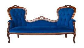 Изолированная софа голубой ткани классическая Стоковые Изображения RF