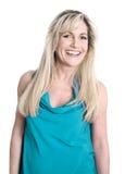 Изолированная сторона довольно белокурой женщины с длинными волосами стоковые фото