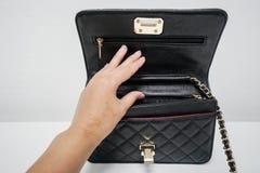 Изолированная сумка бумажника женщины открытая Стоковые Изображения