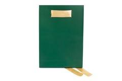 Изолированная сумка зеленой книги с лентой золота Стоковые Фото