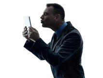 Изолированная таблетка бизнесмена цифровая Стоковые Изображения