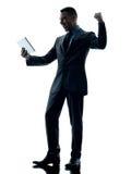 Изолированная таблетка бизнесмена цифровая Стоковые Фото