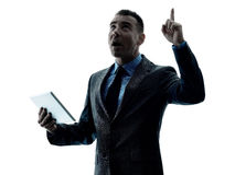 Изолированная таблетка бизнесмена цифровая Стоковое Изображение