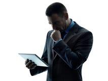 Изолированная таблетка бизнесмена цифровая Стоковое фото RF