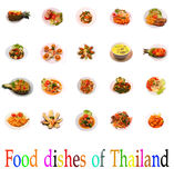Изолированная тайская группа продуктов блюд Стоковые Фотографии RF