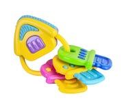 Изолированная трещотка младенца игрушки красочная стоковые изображения rf
