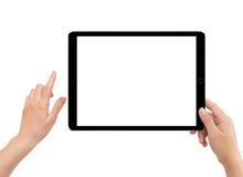 Изолированная человеческая правая рука держа черный планшет Стоковая Фотография RF