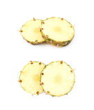 2 изолированного куска ананаса Стоковая Фотография