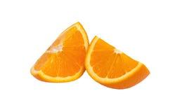 2 изолированного куска апельсина Стоковые Изображения