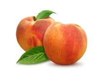 2 изолированного персика Стоковые Изображения