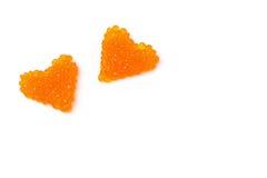 2 изолированного сердца красной икры, Стоковая Фотография RF