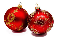 2 изолированного шарика рождества perfec красных Стоковая Фотография