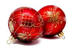 2 изолированного шарика рождества perfec красных Стоковые Фотографии RF