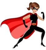 Изолированное бой женщины супергероя иллюстрация вектора