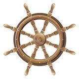 Изолированное винтажное коричневое деревянное рулевое колесо шлюпки Стоковая Фотография RF