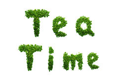 Изолированное ВРЕМЯ ЧАЯ слов сказало по буквам вне с лист чая на белой предпосылке (влияние градиента) Стоковые Фотографии RF