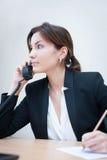 изолированное девушкой рабочее место офиса Стоковое Изображение