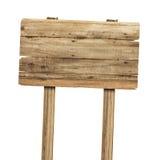 изолированное деревянное знака белое Деревянный старый знак планок Стоковое Изображение RF