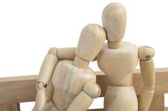 Изолированное деревянное думмичное белое отношение влюбленности предпосылки Стоковые Фото