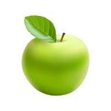Изолированное зеленое Яблоко с лист, вектором иллюстрация штока