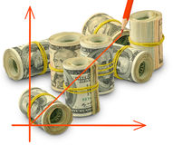Изолированное изображение графика на конце-вверх предпосылки денег Стоковое Фото