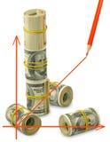 Изолированное изображение графика на крупном плане предпосылки денег Стоковое фото RF