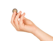 Изолированное изображение монетки евро Стоковые Изображения RF