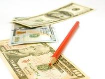 Изолированное изображение долларов и карандаша Стоковые Фото