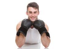 Изолированное изображение студии от молодого боксера Стоковое фото RF