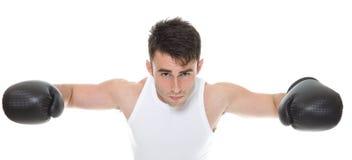 Изолированное изображение студии от молодого боксера Стоковая Фотография RF