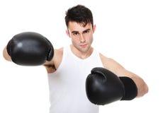 Изолированное изображение студии от молодого боксера Стоковая Фотография