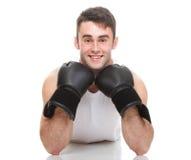 Изолированное изображение студии от молодого боксера Стоковые Фото