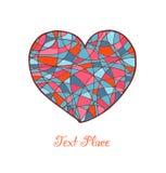 Изолированное нарисованное сердце. Знамя влюбленности. Романтичное сердце мозаики. Шаблон для карточек, печатей, подарков Стоковое Изображение