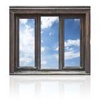 изолированное окно деревянное Стоковые Изображения