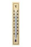 изолированное предпосылкой деревянное термометра белое Стоковая Фотография RF