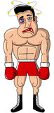 Изолированное раненое человека бокса боксера мышечное побитое Стоковое Изображение