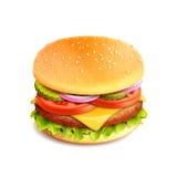 Изолированное реалистическое гамбургера Стоковая Фотография RF