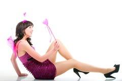Изолированное сердце красивой женщины девушки красное розовое Стоковая Фотография