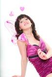 Изолированное сердце красивой женщины девушки красное розовое Стоковые Фото