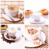 Изолированное собрание взгляд сверху ассортимента кофейной чашки и кофейных зерен Стоковое Фото