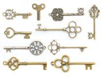 Изолированное собрание старого ключа Стоковое Фото
